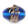 Glass Lamp Bead 24x21mm Twister Deep Aqua/Bronze